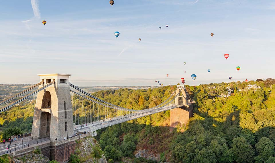 Clifton Suspension Bridge with hot air balloons